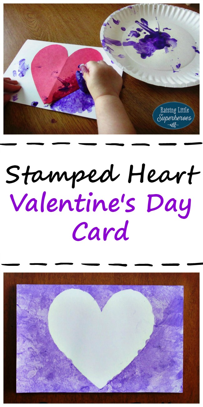 Stamped Heart Valentine's Day Card, Valentine's Day Card, Valentine's Day Crafts for Kids, Crafts for Kids