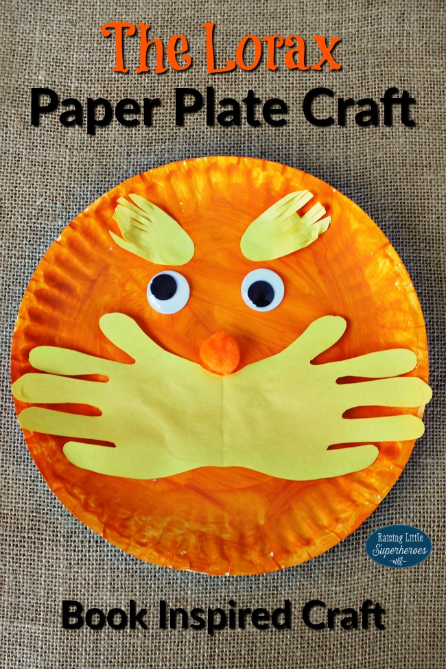 The Lorax Paper Plate Craft, Paper Plate Crafts, Crafts for Kids, Book Inspired Crafts, Dr. Seuss Crafts
