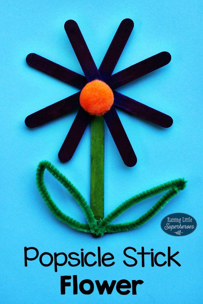 Popsicle Stick Flower, Crafts for Kids, Spring Crafts for Kids, Popsicle Stick Craft, Popsicle Stick Crafts