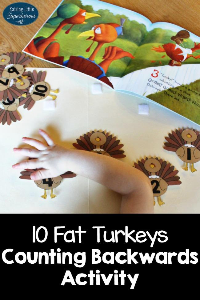 10 Fat Turkeys Counting Backwards Activity, Counting Backwards Activity, Learning Activities, 10 Fat Turkeys,