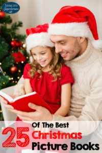 family, christmas, x-mas, winter, happiness and people concept - smiling father and daughter in santa helper hats reading book