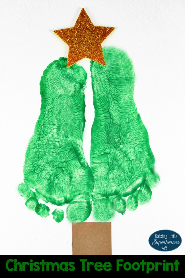 Christmas Tree Footprint Craft, Christmas Crafts for Kids, Crafts for Kids, Christmas Tree Craft, Footprint Craft
