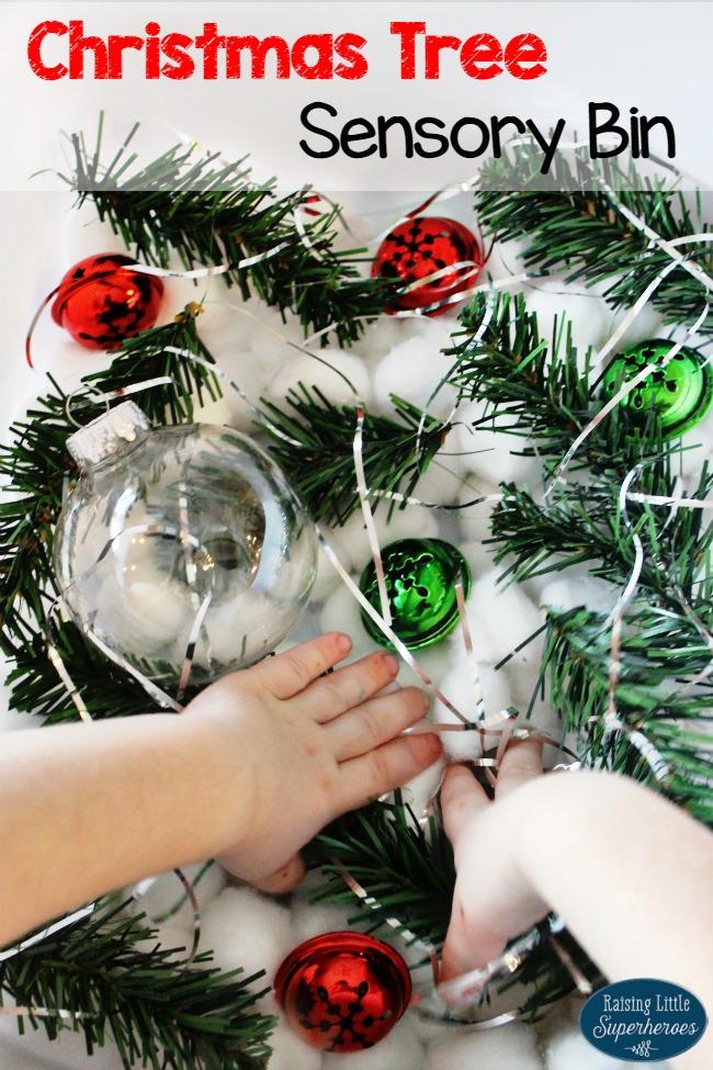 Christmas Tree Sensory Bin, Sensory Bin, Tactile Activities for Kids, Activities for Kids, Christmas Activities for Kids, Sensory Activities for Kids