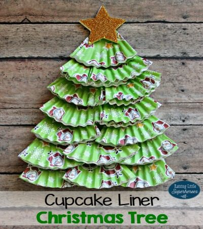 Cupcake Liner Christmas Tree Craft for Kids
