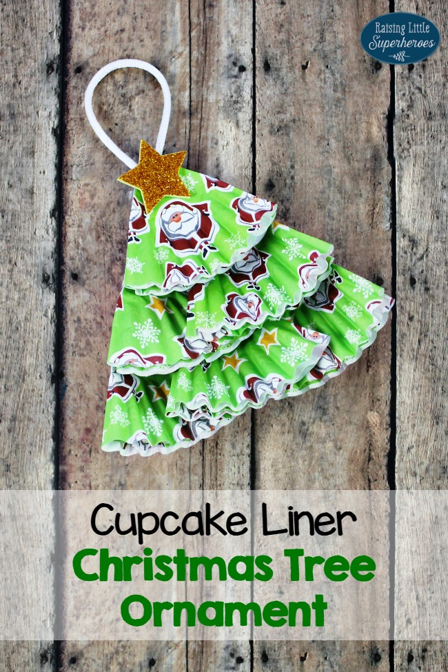 Cupcake Liner Christmas Tree Ornament, Cupcake Liner Crafts, Cupcake Liner Crafts for Kids, Christmas Crafts, Christmas Tree Ornament, Homemade Ornament, Crafts for Kids, Christmas Crafts for Kids, Ornament Crafts for Kids