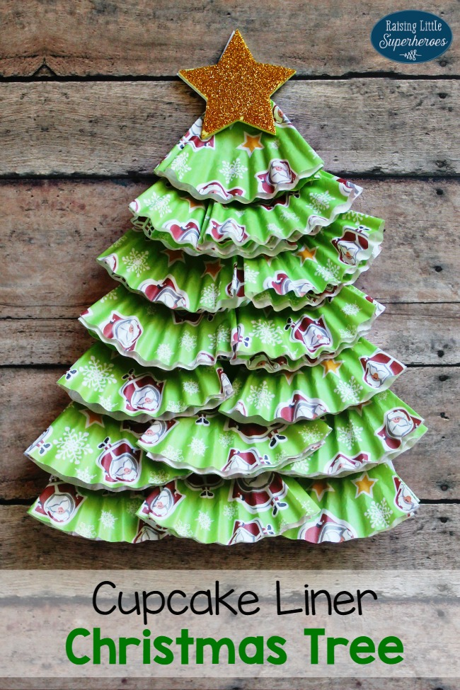 Cupcake Liner Christmas Tree Craft for Kids -