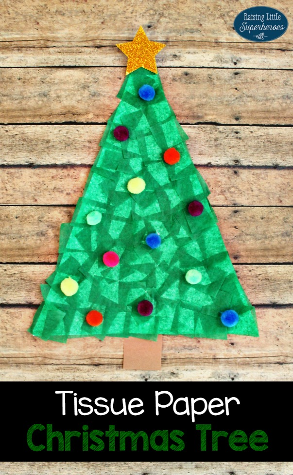 Tissue Paper Christmas Tree Craft, Crafts for Kids, Christmas Crafts for Kids, Christmas Tree Craft