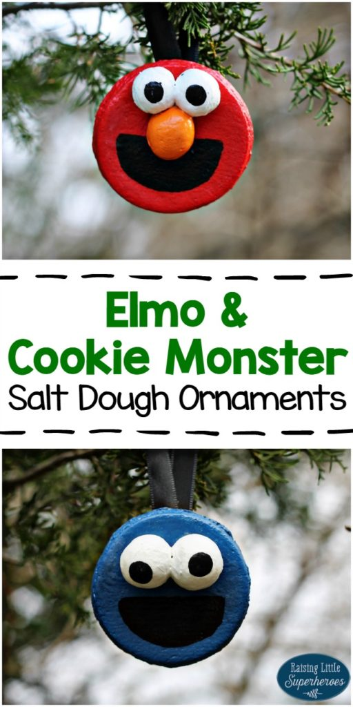 Elmo and Cookie Monster Salt Dough Ornaments, Salt Dough Ornaments, Christmas Crafts for Kids, Holiday Crafts for Kids, Crafts for Kids, Christmas Ornaments