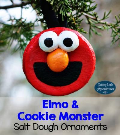 elmo and cookie monster salt dough ornaments