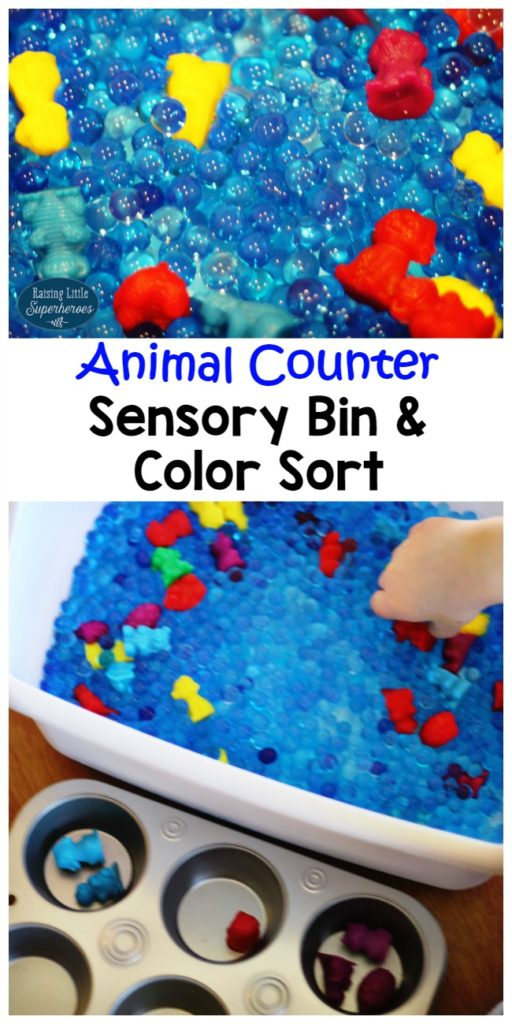 Animal Counters Sensory Bin, Animal Counters, Color Sort, Sensory Bin, Learning Activities, Preschool Activities, Toddler Activities, Manipulatives