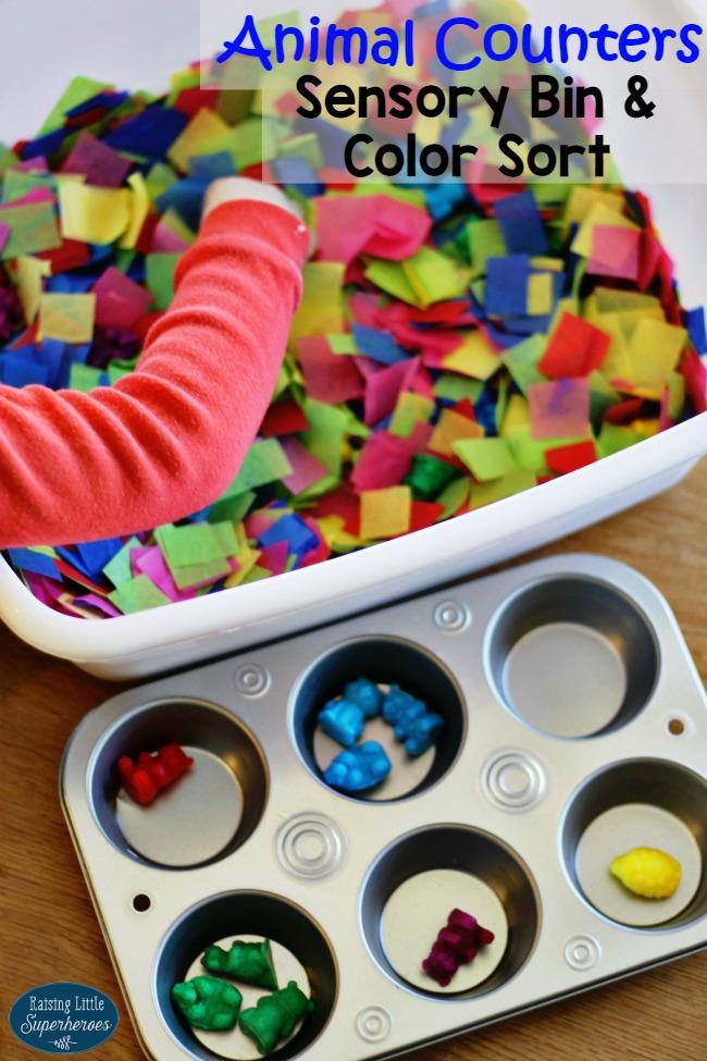 Animal Counters Sensory Bin, Animal Counters, Color Sort, Sensory Bin, Learning Activities, Preschool Activities, Toddler Activities, Manipulatives