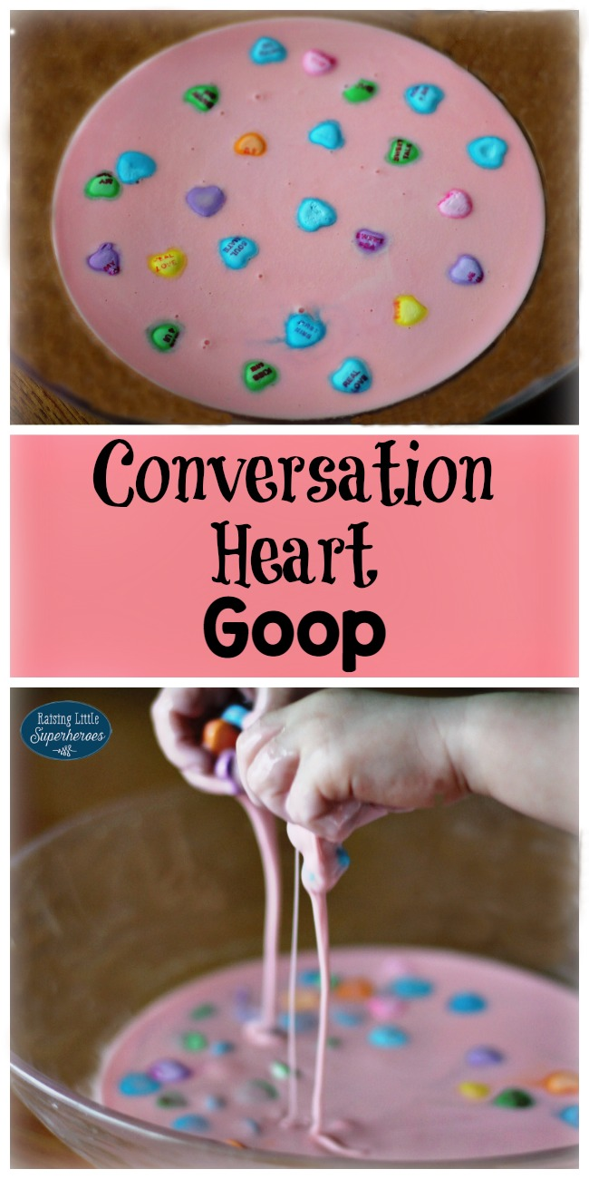 Conversation Heart Goop, Sensory Activities for Kids, Activities for Kids, Tactile Activities for Kids