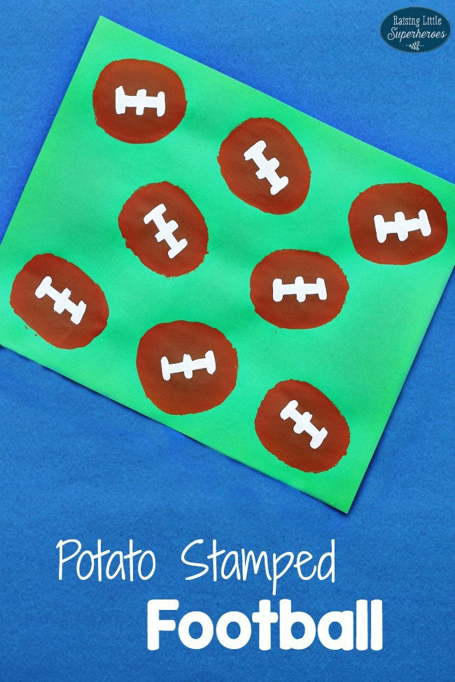 Potato Stamped Football Craft, Football Craft, Crafts for Kids, Sports Crafts, Superbowl Crafts