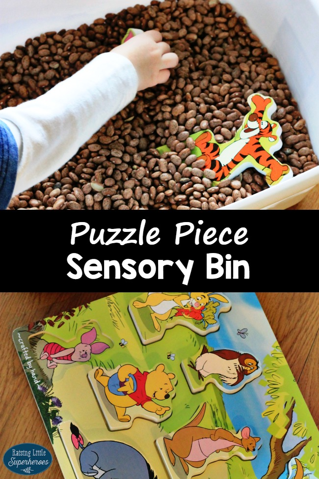 Puzzle Sensory Bin, Puzzle Piece Sensory Bin, Sensory Activities for Kids, Sensory Bin