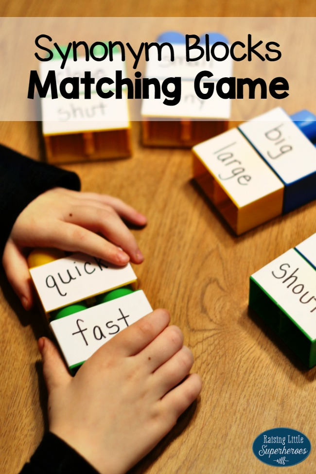 Synonym Blocks Matching Game, Synonyms, Learning Activities, ELA Activities, Vocabulary Activities