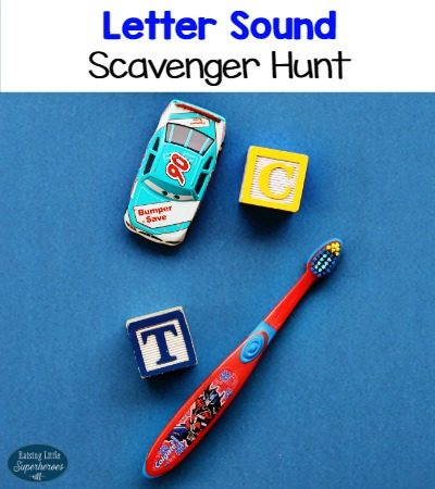 Letter Sound Scavenger Hunt Using Blocks