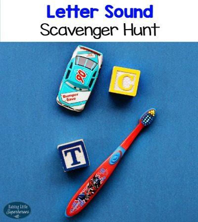 Letter Sound Scavenger Hunt Using Blocks