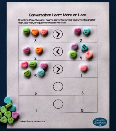 Conversation Heart More or Less Activity for Kids