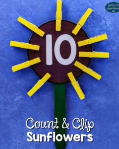 Count and Clip Sunflowers for Preschoolers
