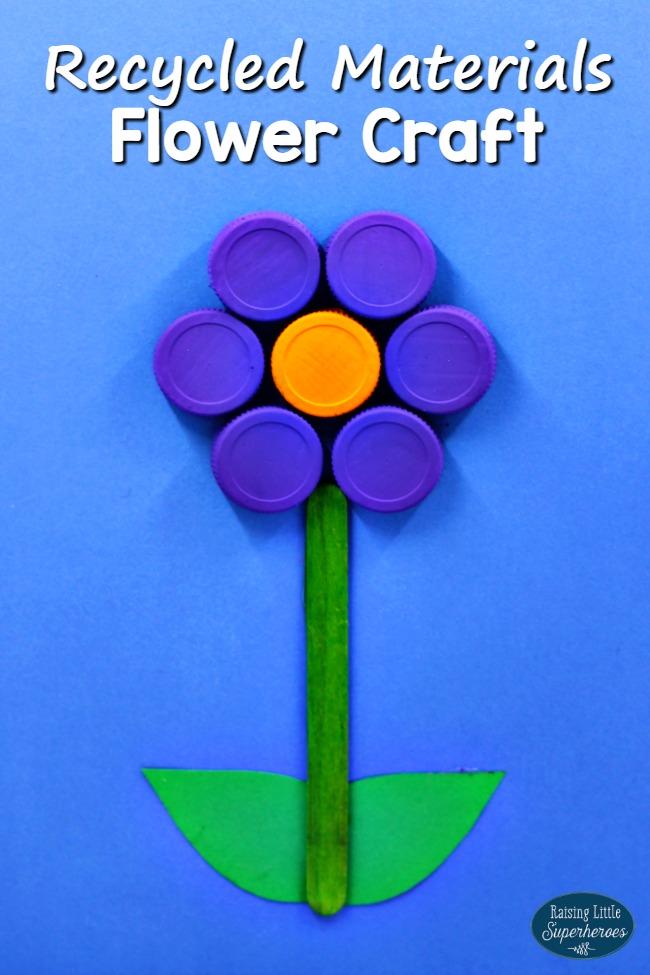 Flower Craft Recycled Materials, Flower Craft From Recycled Materials, Recycle Materials Flower Craft, Earth Day Crafts, Flower Crafts, Crafts for Kids