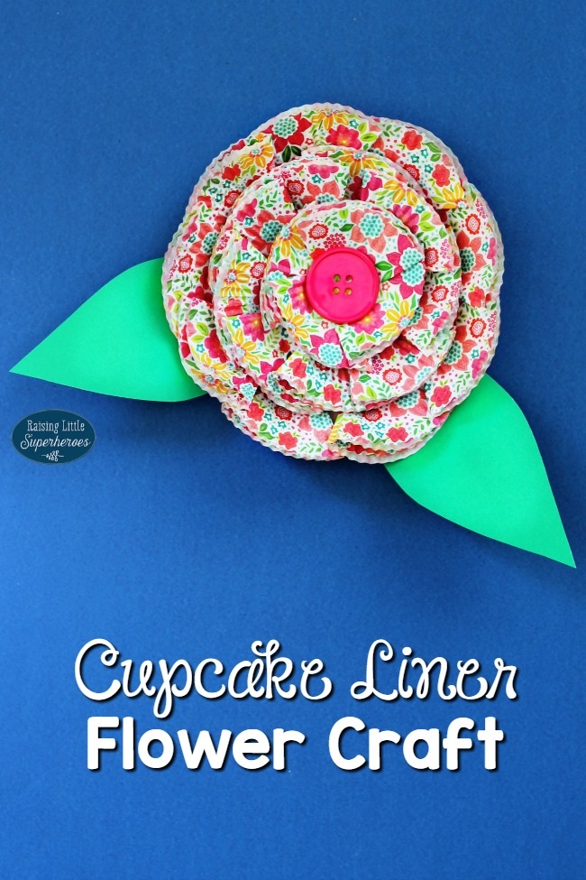Cupcake Liner Flower Craft, Cupcake Liner Craft, Flower Craft, Craft for Kids, Spring Crafts for Kids