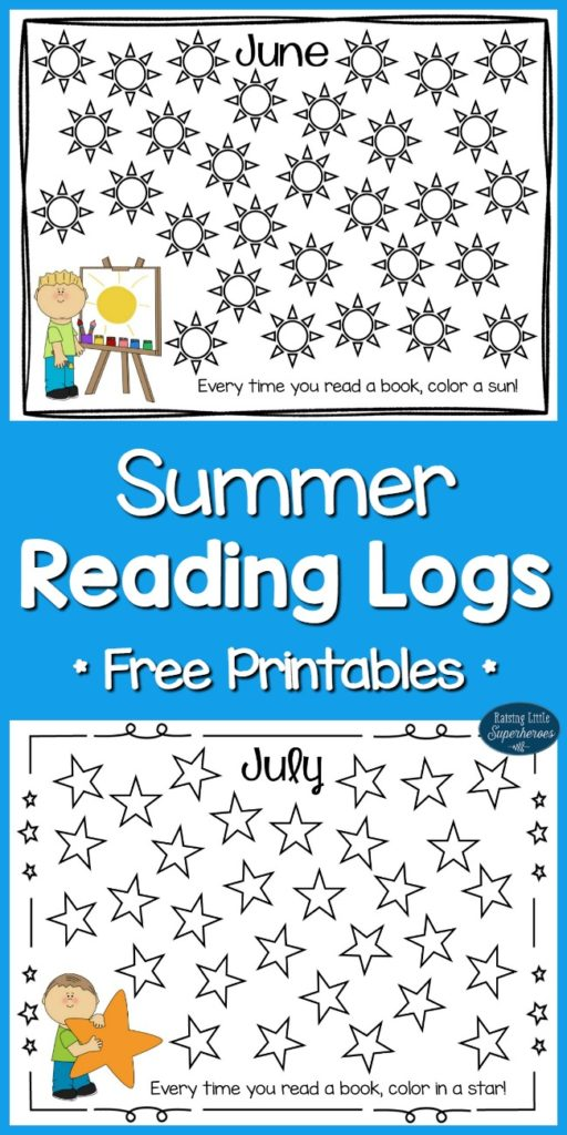 ... books read with these printable Summer Reading Logs for June and July