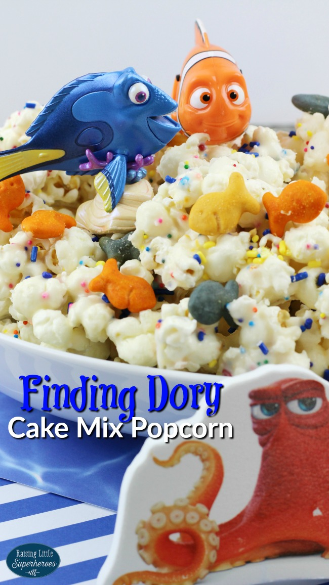 Finding Dory Cake Mix Popcorn, Finding Dory, Finding Dory Snacks for Kids, Snacks for Kids, Cake Mix Popcorn, Cake Mix Recipes, Popcorn Recipes