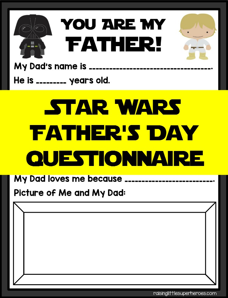 Father's Day, Star Wars Father's Day Questionnaire, Father's Day Questionnaire