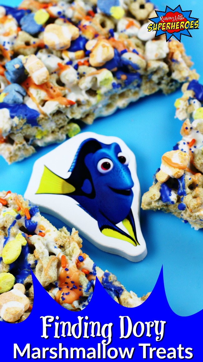Finding Dory Marshmallow Treats, Finding Dory, Nemo and Dory Marshmallow Treats, Marshmallow Treats, Simple Dessert Recipes