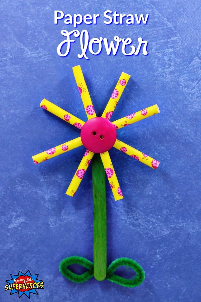 Paper Straw Flower, Flower Crafts for Kids, Flower Crafts, Crafts for Kids, Paper Straw Crafts