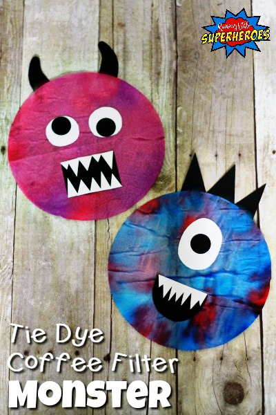Tie Dye Coffee Filter Monster, Halloween Craft, Coffee Filter Craft, Monster Craft, Tie Dye Craft