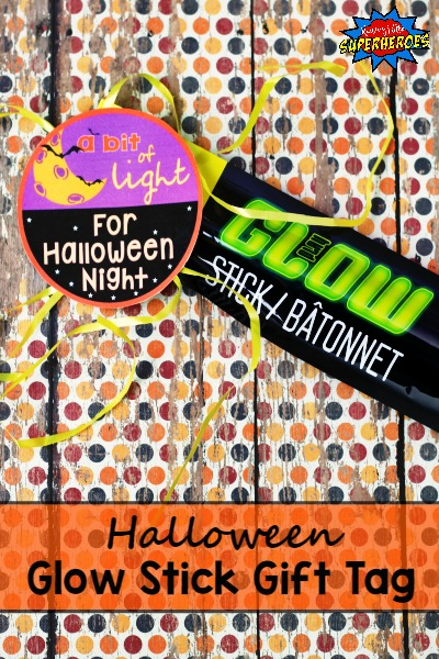 Halloween Glow Stick Gift Tag, A Bit Of Light For Halloween Night, Halloween Gift Tag, Non-Candy Halloween Treat
