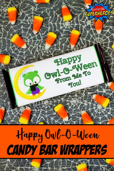 """Happy Owl-O-Ween From Me To You"" Halloween Candy Bar Wrappers"