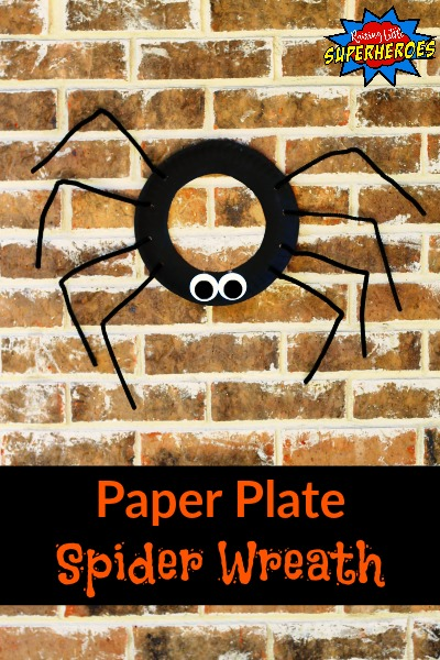 Paper Plate Spider Wreath, Halloween Craft for Kids, Paper Plate Craft, Spider Craft, Wreath Craft