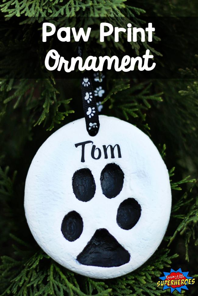 Paw Print Ornament, DIY Ornament, Christmas Ornament, Dog Ornament, Homemade Ornament
